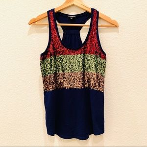 Express | RacerBack Sleeveless Top with Sequins